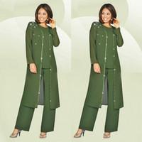 Verde Plus Size Mother Of The Bride Pantaloni Tuta Con Giacca Lunga Per Matrimoni Madre Sposo Vestito Perline Abito da Sposa