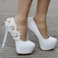 Sweet flowers pearls heels Elegant wedding shoes pumps for w...