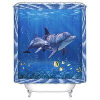 Venda por atacado- Alta Qualidade 3D Golfinho Seascape banheiro cortinas Digital impressa cortina de chuveiro poliéster mofo impermeável decoração azul