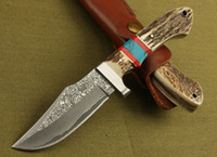 Damascus Survival Straight Knife 60HRC Tactical Camping Hunt...