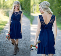 Navy Blue Country Style Bridesmaid Dresses 2016 Cheap Scoop ...