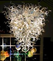 مصابيح العتيقة الثريات LED ضوء 100٪ الفم في مهب الزجاج الفن الثريا الإضاءة لغرفة الطعام المعيشة