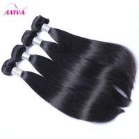 브라질 버진 머리카락 스트레이트 4pcs / Lot 처리되지 브라질 인간의 머리카락 번들 자연 검은 염가 레미 헤어 익스텐션 염색 될 수 있습니다.