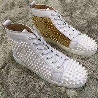 16SS High Top Spikes Red Bottom Shoes Amante de los diseñadores Hombres Mujeres Louisflats Red Sole Lace-up Zapatos casuales - Designer Sneakers Famous Brand
