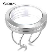 VOCHENG 30mm جولة القلب زجاج المناجد الذاكرة خاتم متغير الحجم لسحر العائمة تقليد الروديوم مطلي VA-249