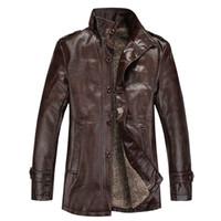 Wholesale- YG6063-9Cheap en gros 2016 Nouveau collier d'automne avec Velvet Homme Cultiver sa moralité Veste de loisirs Manteau en cuir PU