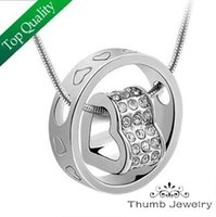 JS N025 Heart Pendant Necklace Best Seller Silver And 18K Go...