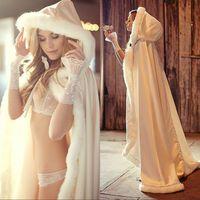 Hızlı Teslimat 2020 Kapşonlu Gelin Cape Beyaz Fildişi Kürk Düğün Bolero Kadınlar Kış Ceket Uzun Düğün Cloaks Aksesuarlar