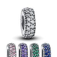 Authentische 100% 925 Sterling Silber nicht plattiert Inspiration Spacer Charme Perle Cubic Zirkonia Fit Original Pandora Armband Anhänger