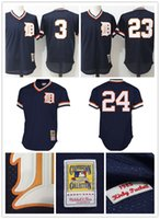 Broderie Detroit Tigers 3 C23 Kirk Gibson 24 Maillots de Baseball Miguel Cabrera Maillots de Moteur Homme MLB Mitchell Ness Jersey