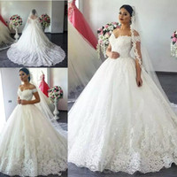2017 Arabic Vestidos A Line Wedding Dresses Off Shoulder Cap...