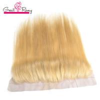 613 Cierre frontal de encaje rubio de miel recta con cabello para bebés Cierre del cabello humano brasileño 13 * 4 Oído a la oreja Remy Hair se puede teñir