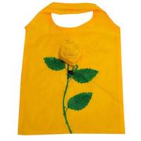 100pcs lot 7Colors Pretty Rose Foldable Eco Reusable Environmental Shopping Bags 38*58cm