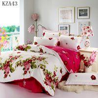 Atacado- bela flor padrão de cama de cama 4 pcs 100% algodão fronha de algodão capa decorja folha de cama gêmeo rainha completo king size fornecimento de longo prazo