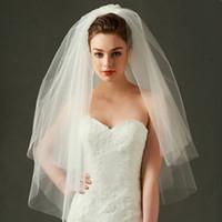 2017 Ivory Spiral Veils Soft Tulle con peine Velos de novia Accesorios de boda de lujo cortos