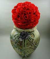 웨딩 파티 장식 용품에 대 한 키스 공을 교수형에 처하는 우아한 화이트 인공 로즈 실크 플라워 공 30cm 12 인치 공