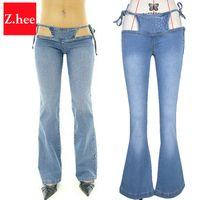 Venta al por mayor- Tamaño de cintura ultra baja Bikini pierna ancha flare jeans para mujeres Bikini vendaje pierna ancha mujeres jeans Pantalones de pierna ancha flare