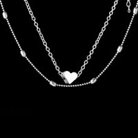 Forever Love Heart Pendant Necklace Silver Gold Chain Multil...