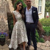 Vestido De Gala Arapça Gelinlik Modelleri Zarif Tam Dantel Yüksek Düşük Abiye giyim Zarif Kısa Özel Durum Elbise