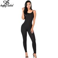Un morceau gros- pantalon gris spaghetti costume corps vêtements femmes noires barboteuses bretelles stretch longues moulantes Jumpsuits Salopette 64106