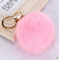 Fashion Gold Rabbit Fur Ball Keychain fluffy keychain fur po...