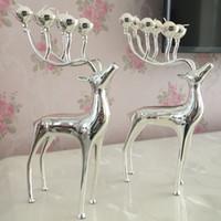 Novos presentes de Natal de Prata / ouro / preto banhado cervos forma de metal suporte de vela, 6 braços candelabros com 18 pcs velas grátis