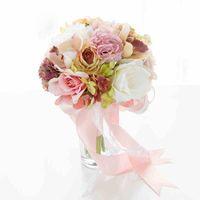 Romantik Gelin Buketleri Çarpıcı Düğün Buketleri Yüksek Kaliteli Düğün Çiçekleri Renkli Aksesuarlar 2017 Yeni Geliş Ucuz
