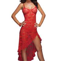 도매 - 긴 섹시한 nightdress 여자 춤 의류 t-back m-xxl 앙상블 란제리 섹시한 에로틱 한 잠옷 여성 섹시한 란제리 Nightdress