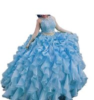 2017 Real Photo Ruffles Long Ball Gown Two Pieces Quinceaner...