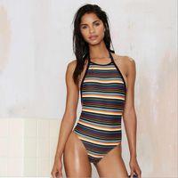 Multicolor Impressão Listrada Swimsuit Halter Backless Cintura Alta Swimwear Brasileiro Verão Beach Wear Um Pedaço De Maiôs S M L