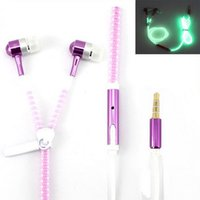 LED 6 couleurs Luminous Glow Ecouteurs Metal Zipper Night Light Glowing Headset Stereo Casque sport avec microphone pour iPhone Samsung S8
