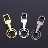 Free shipping Metal zinc alloy double ring car key chain cus...