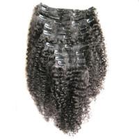 Mongolian kinky cabelo Encaracolado afro kinky clipe em extensões 8 pcs 100g clipe americano africano em extensões de cabelo humano
