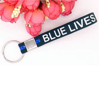 Key ring Black Blue Lives Matter Key chain Wristband Silicon...