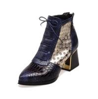 الأزياء أشار تو الأفعى طباعة الصليب التعادل الكاحل التمهيد هوف أحذية عالية الكعب قصيرة الخريف الأحذية حذاء الشتاء امرأة الأحذية