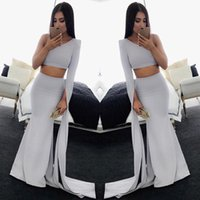 2017 Semplice Prom Dresses Guaina New Sexy One Shoulder Due pezzi maniche lunghe Party Occasion Abiti da sera arabo