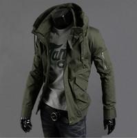 Wholesale-送料無料ニュースリムセクシートップデザインメンズジャケットコート3カラー:ブラック、アーミーグリーン、ブルー、ホット、メンズジャケットプラスビッグサイズS-5XL
