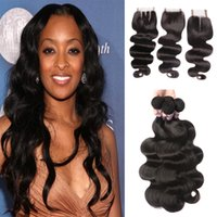 8A Unprocessed Indian Virgin Hair With Closure Indian Body W...