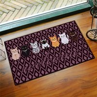 1Pcs Cartoon Cats Bath Mat Carpet, 8 Colors 60x90cm Anti Slip Bathroom Mat Rugs, Doorway Bedroom Bathroom Toilet Mat Tapete