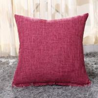 Düz Renk Kare Yastık Kapak Kalın Keten Kumaş Yastık Kapak Atmak Yastık Kılıfı 45 * 45 cm Dekor Yastık Kılıfı