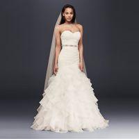 새로운! ruffled 치마와 organza 인어 웨딩 드레스 Strapless Sash 레이스 위로 주름진 신부 드레스 가운 WG3832
