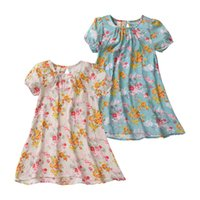 Everweekend Girls Summer Floral Cotton Dress Cute Sweet Children Ruffles Casual Dress Abiti di moda di colore rosa e blu