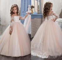 Romantic Champagne 2017 Puffy Flower Girl Dress for Weddings...