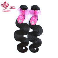 Rainha produtos para o cabelo 100% brasileiro virgem onda do corpo do cabelo Humano 2 pçslote DHL frete grátis