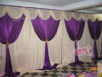 свадебный этап фонов украшения романтический романтический фиолетовый с белым свадебный занавес с swags 3X6M(10ftX20ft) Бесплатная доставка