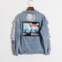 Vente en gros-Nouvelle Arrivée Destroyer Broderie Lettres Jeans Lâche BF Dos Patch Denim Veste Manteaux Oversize Femmes Harajuku Style Survêtement