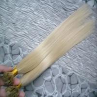 Blondes Brasilianisches Haar Flache Spitze Haarverlängerungen 100g 1 Pakete Haarverlängerungen Keratin # 613 Bleach Blonde