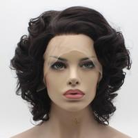 Iwona peluca ondulada marrón oscuro corto 24 # 2/6 peluca peluquería frontal sintética atado a media mano con encaje
