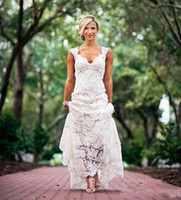 Chic Rustic Full Lace Wedding Dresses Cheap V Neck Open Back...