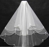 Высокое качество ручной работы бисером белый двухслойная свадебные вуали Blusher вуали короткие свадебные вуалии VEU de Noiva GV10